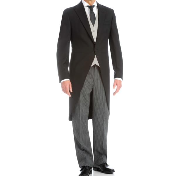 Chaqué clásico, levita negra, pantalón rayas