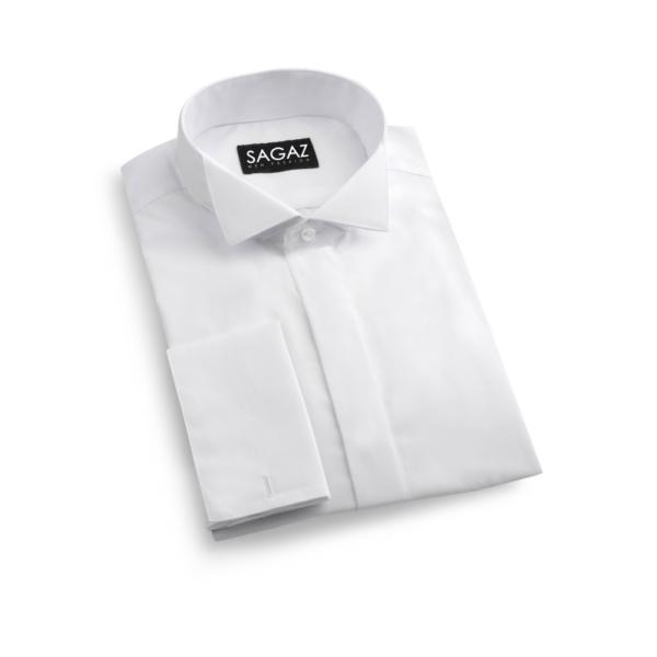 camisa blanca cuello esmoquin con tapeta