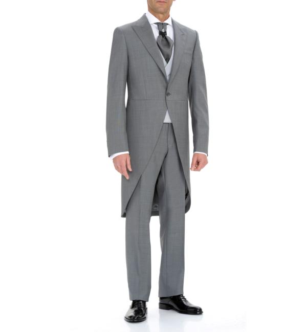 conjunto de chaqué gris, levita y pantalón