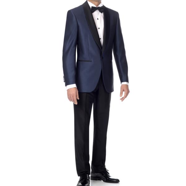esmoquin americana azul y pantalón negro con galón