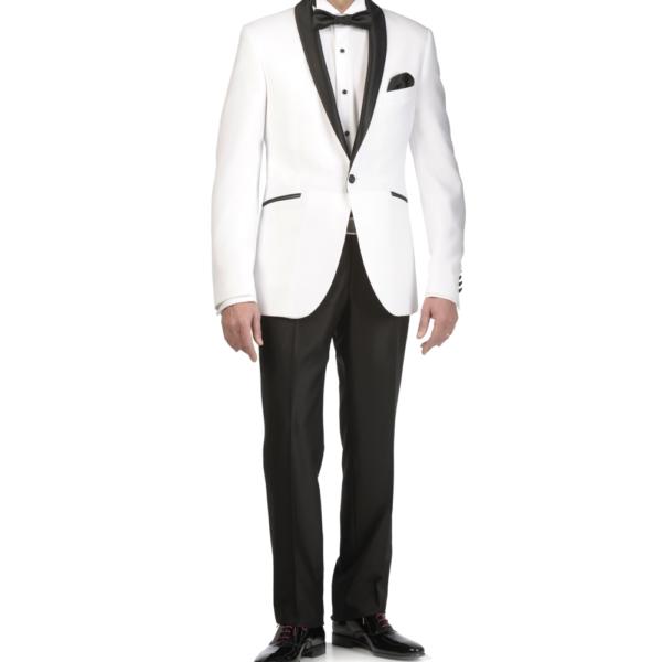 Esmoquin blanco, americana blanca y pantalón negro