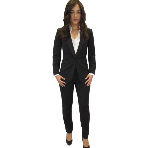 Esmoquin negro mujer, chaqueta y pantalón negro con galón