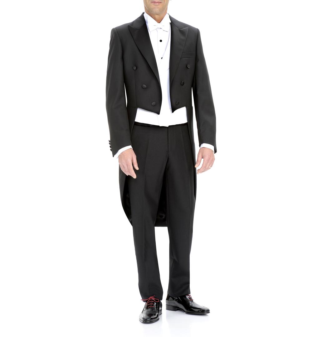 frac negro, levita y pantalón negro, chaleco y pajarita blanca