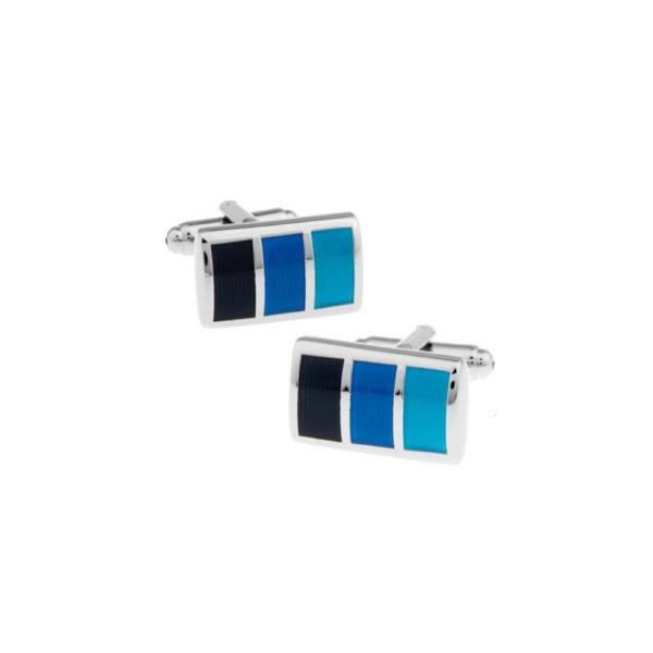 gemelo rectangular plateado con tres colores azules