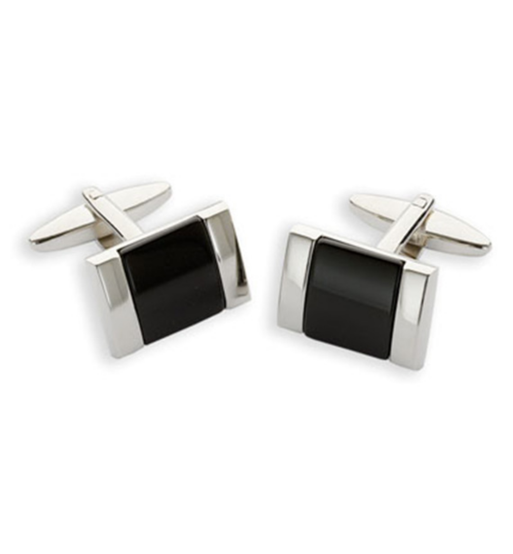gemelo rectangular plateado y negro