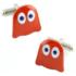 gemelo con figura de comecocos en rojo