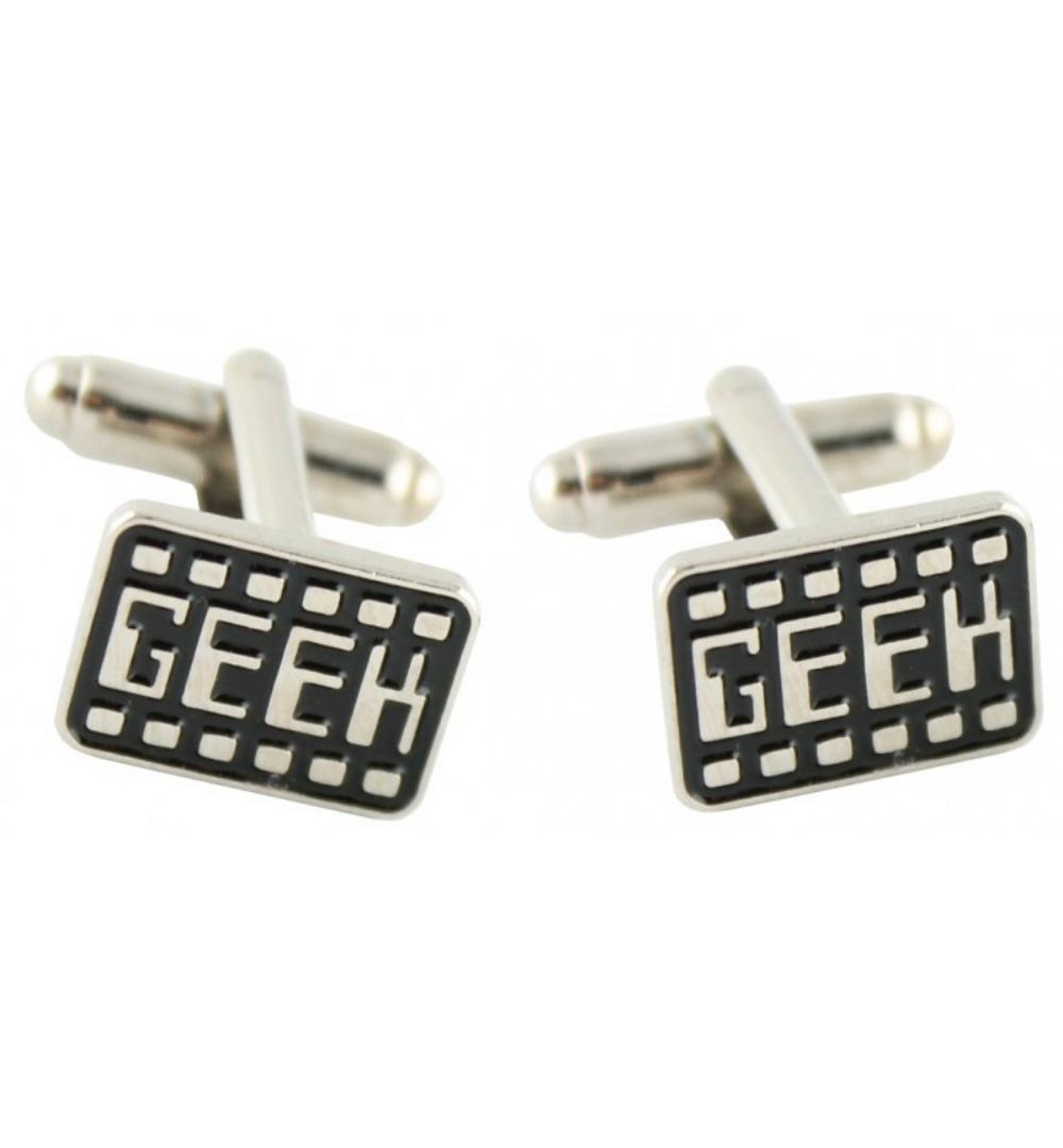 gemelo rectangular plateado y negro título Geek