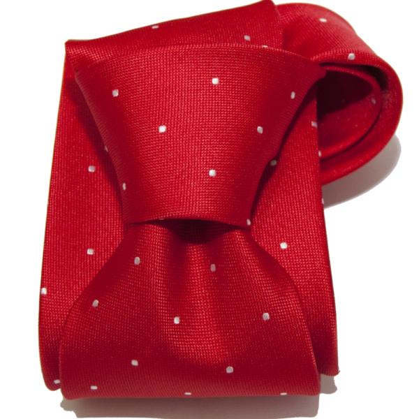 Corbata roja topo blanco.