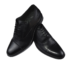zapato negro de piel con puntera pespunteada
