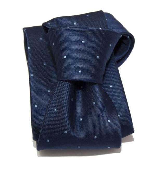 Corbata azul marino topos azules.
