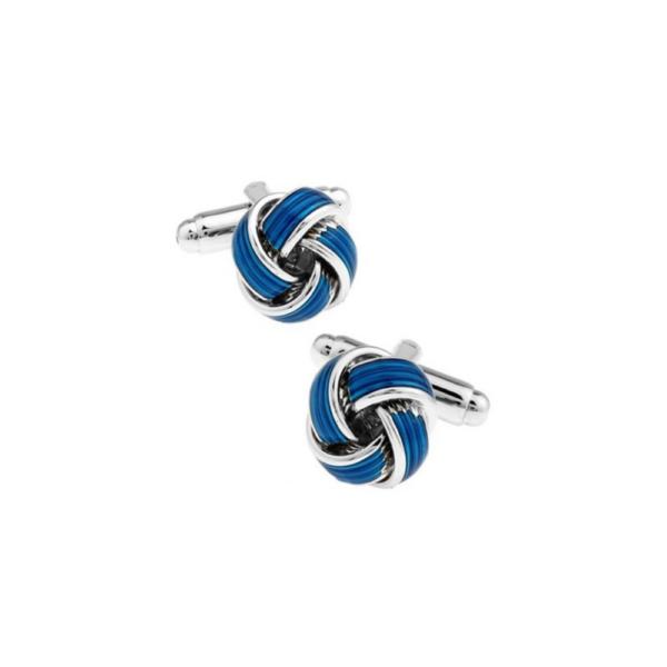 gemelo plateado en forma de nudo azul