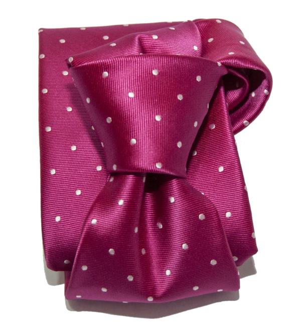 Corbata rosa topo blanco.