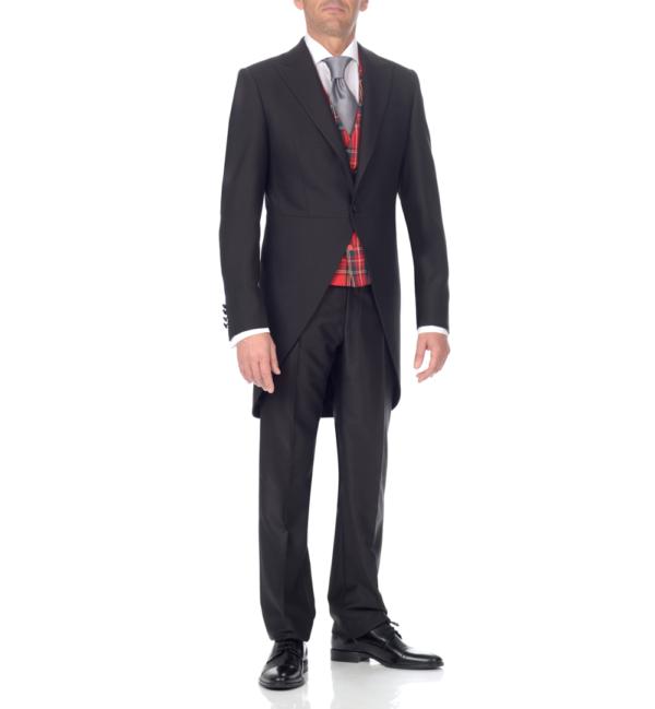 chaqué negro, pantalón negro y chaleco gales rojo