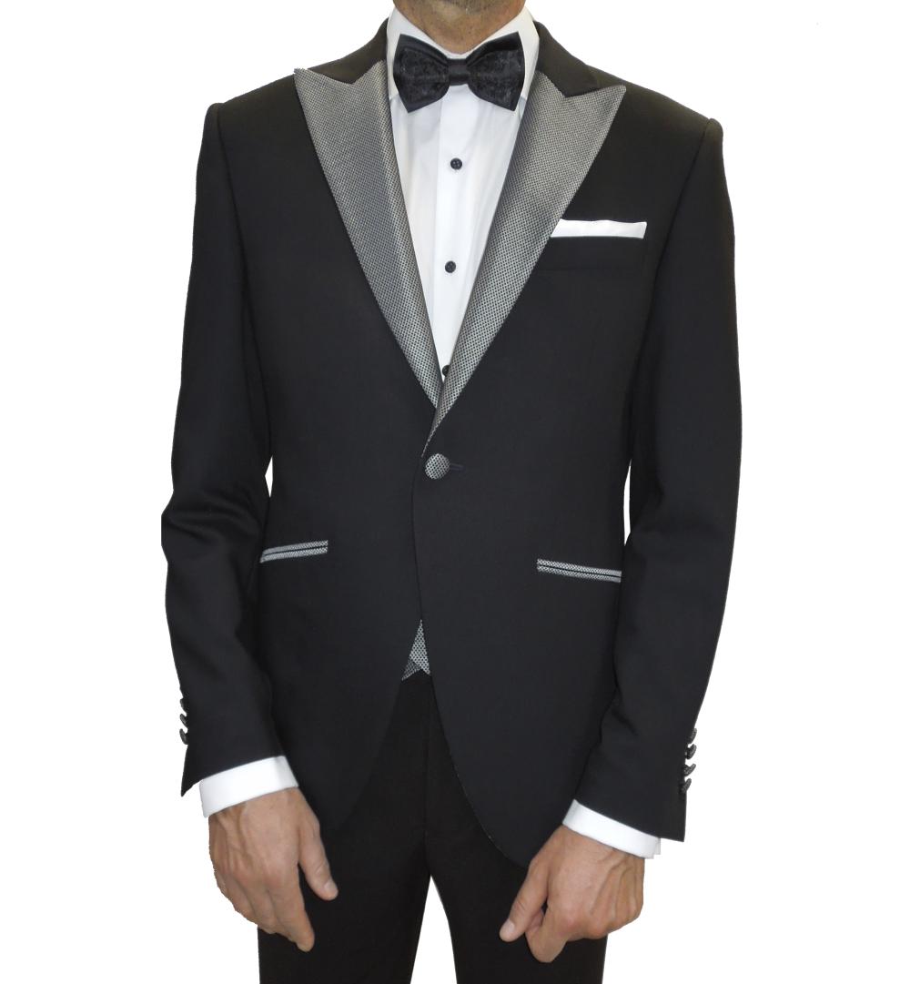 Chaqueta de traje de novio negro con solapa plata