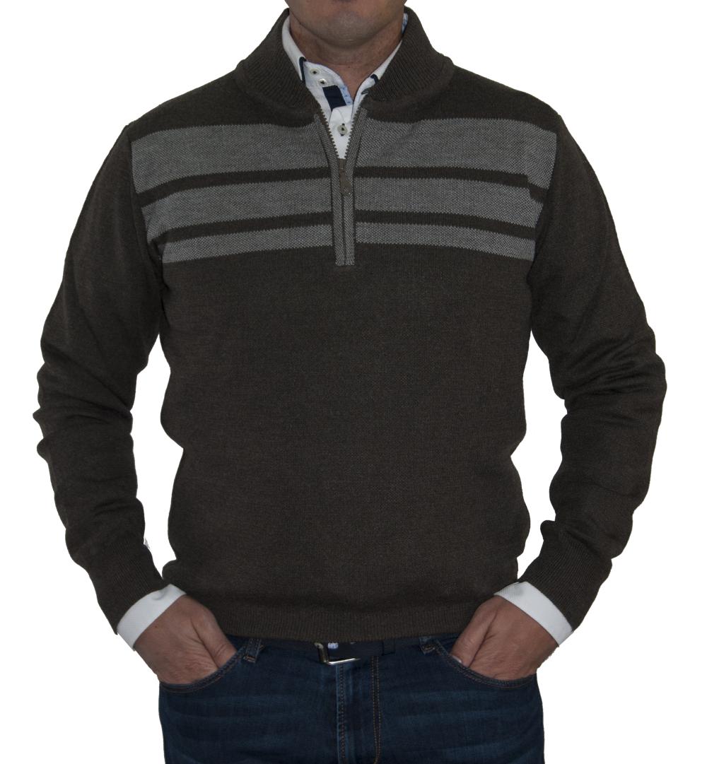 Jersey marrón con raya horizontal superior