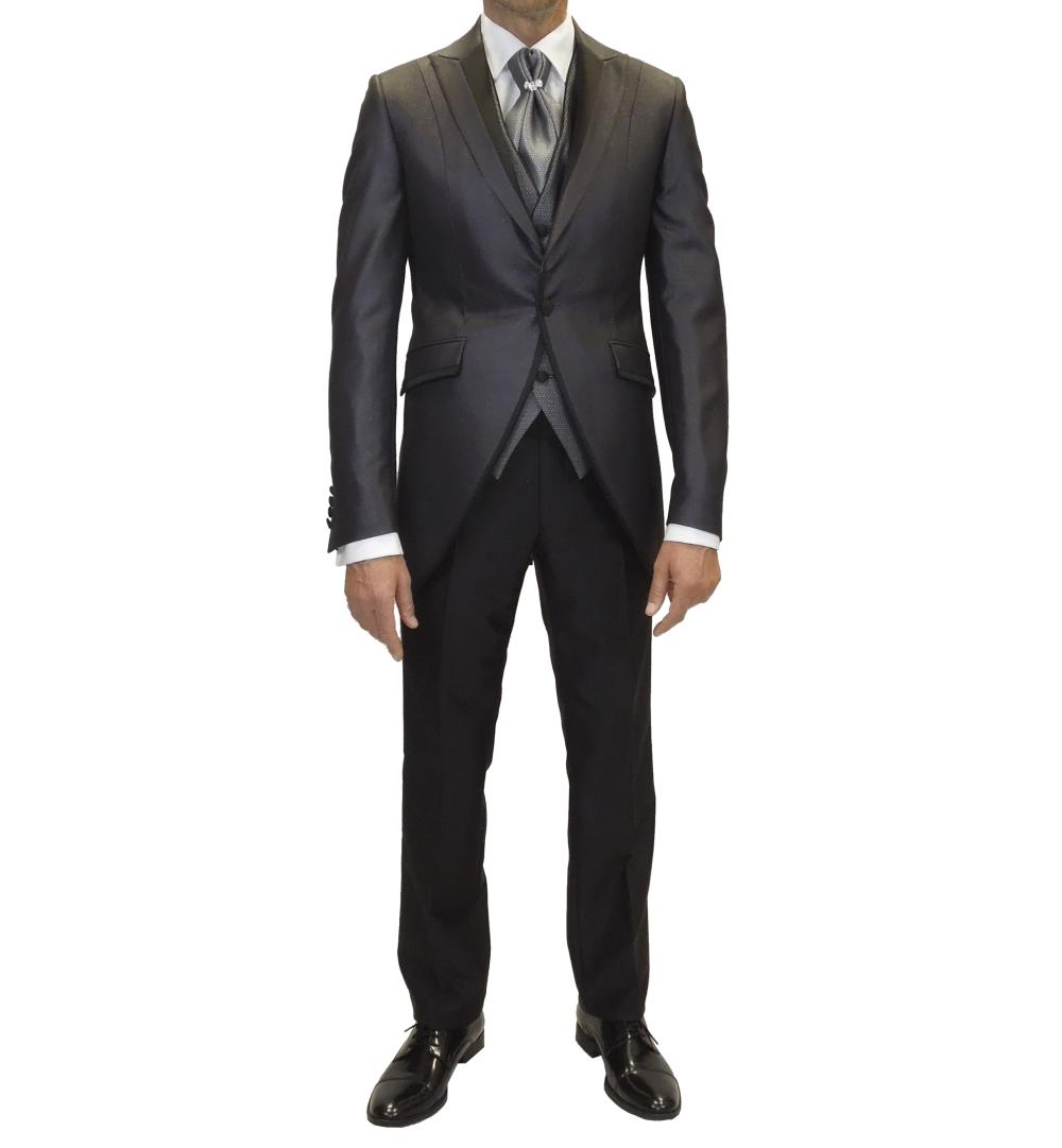 Conjunto de traje de novio, chaqueta gris metálico, pantalón negro, chaleco plata
