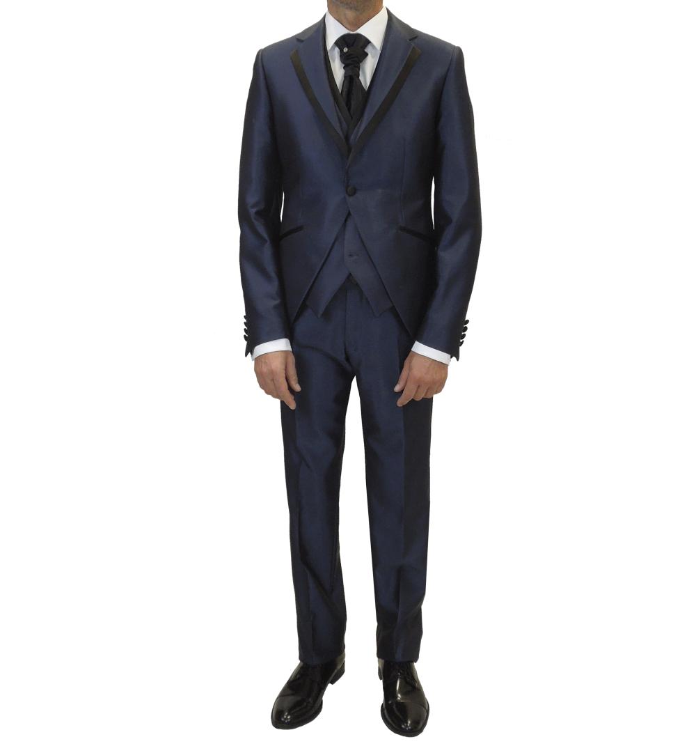 Conjunto de traje de novio con chaqueta, pantalón y chaleco en azul índigo