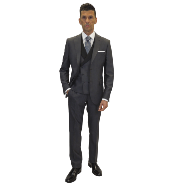 Conjunto de traje de espiga gris marengo, chaqueta. pantalón y chaleco al tono