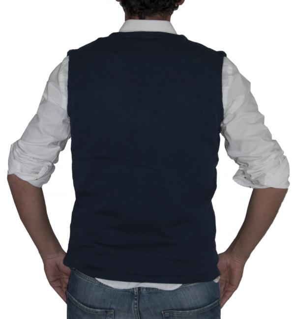 Detalle espalda chaleco azul marino.