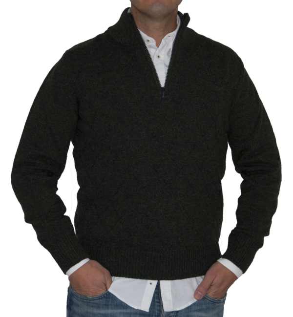 Jersey lana, verde musgo cuello cisne, cremallera.