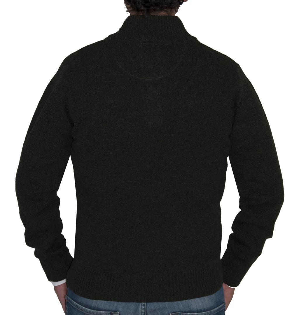 Detalle espalda jersey lana verde musgo.
