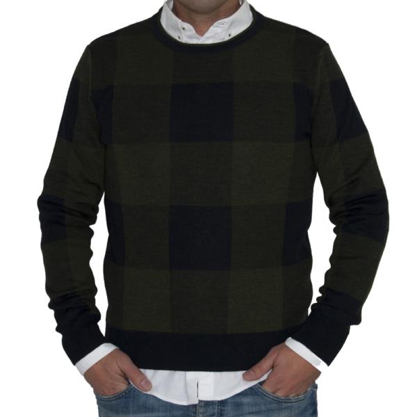 Jersey lana cuadros verdes.