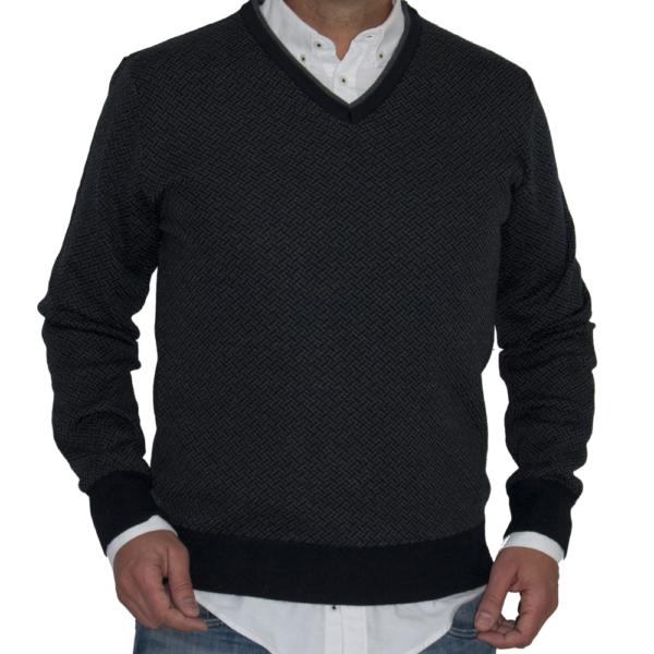 Jersey con dibujo en azul marino y gris.