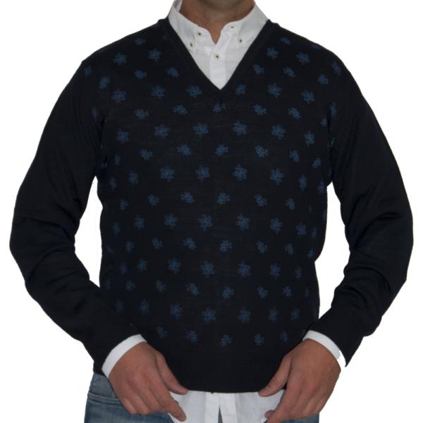 Jersey azul marino con estampación en azul.