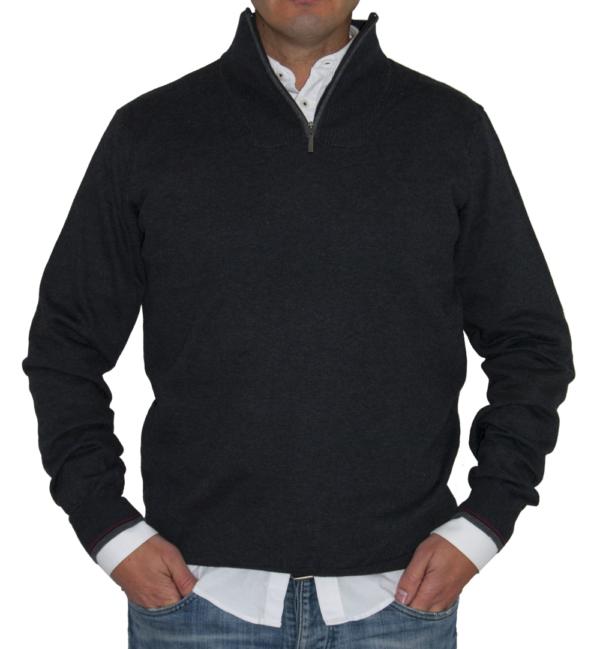 Jersey antracita cuello con cremallera.