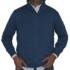 Jersey azul, cuello cisne con cremallera.
