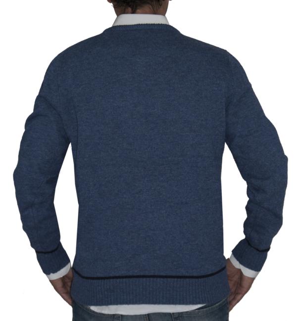 Jersey de punto azul atlántico detalle espalda.