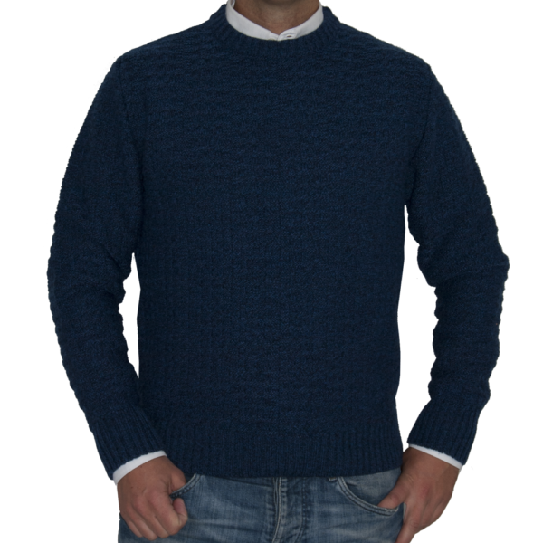 Jersey tramado grueso azul.