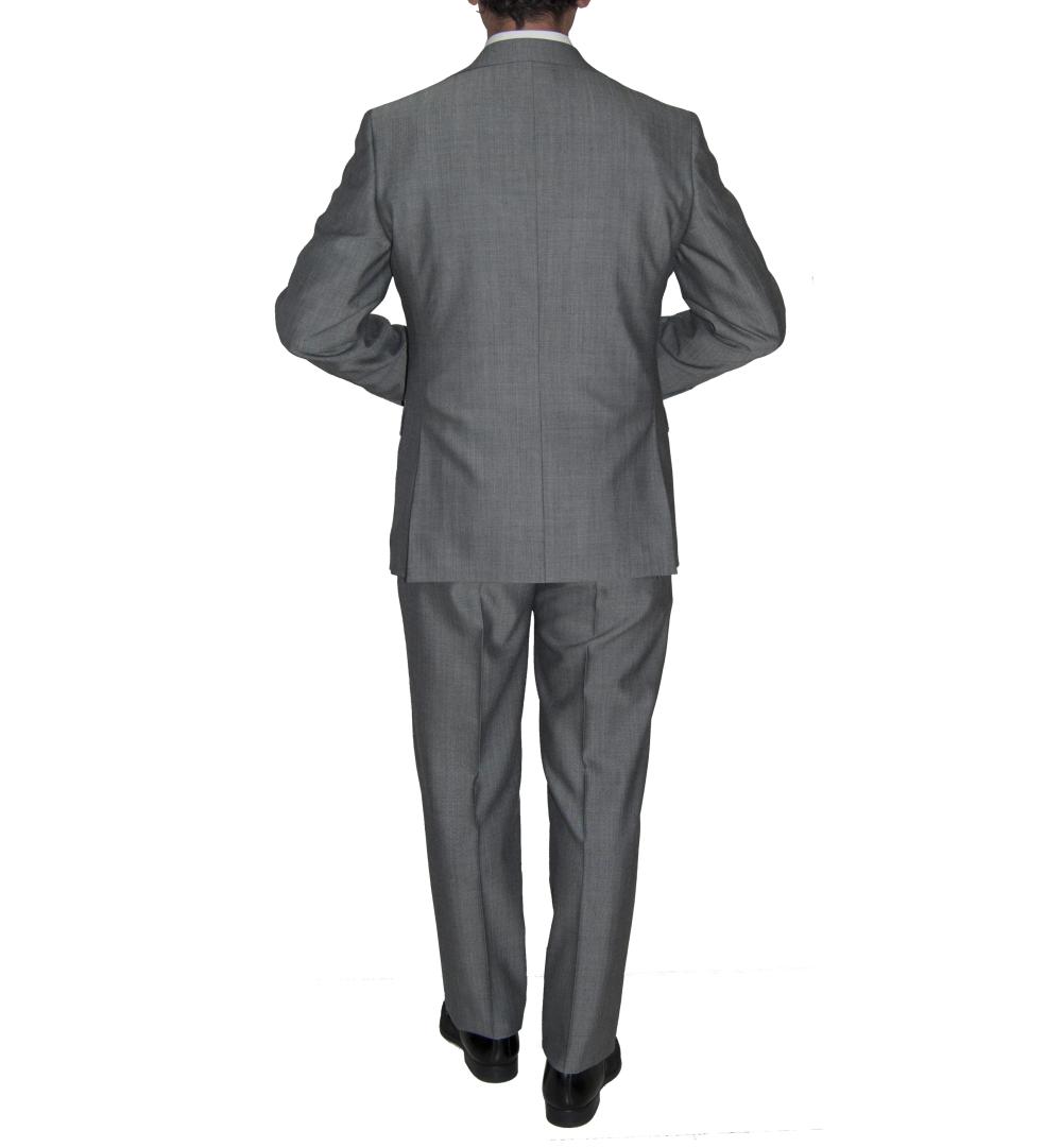Detalle espalda traje espiga gris.