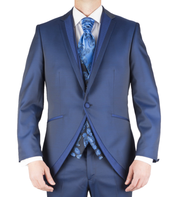 Chaqueta traje novio azul.